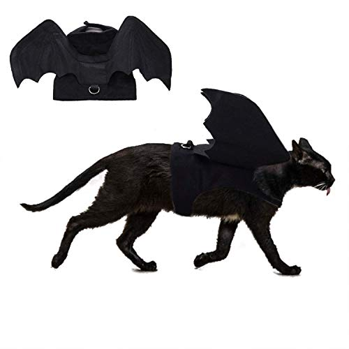 RYPET Cat Halloween Costume - Halloween Bat Wings Pet Costumes for Small Dogs Cats Halloween Party Small
