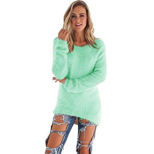 Amlaiworld Sweatshirts Winter bunt plüsch locker pullis Damen komfortabel Sport Sweatshirt warm flauschig Lang Pullover (Grün, M)