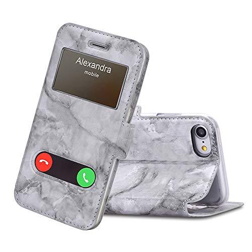 FYY iPhone SE Hülle 2020,iPhone 7 Hülle, Handyhülle iPhone 7,Premium PU Lederhülle Flip Leder Handytasche mit [View-Fenster]& Magnetverschluss für Apple iPhone 8/ iPhone 7 4.7'',Marmor Schwarz