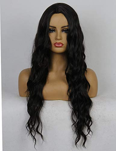 Life Diaries Black Synthetic Wigs for Women Natural Looking Body Wavy Middle Parting NONE Lace Heat Resistant Replacement Wig Full Machine Made 24 inches