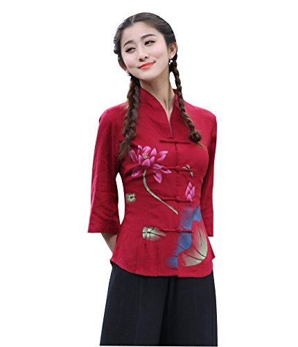 Yue Lian Damen Lang Bluse Lotus Muster Rot Etuikleid Chinesisch Kn?pfe Cheongsam (42 Tag2XL)