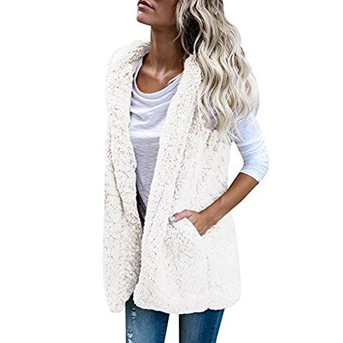 Womens Solid Vest Winter Warm Hoodie Outwear Stylish Casual Coat Pocket Jacket(White,L)