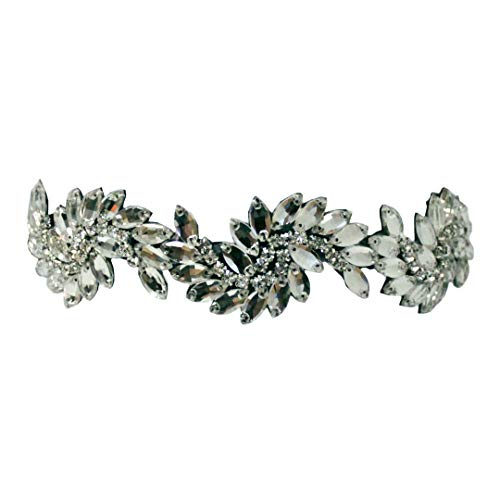 Mia Embellished Headband, Large Sparkly Clear Marquis Diamond Shaped Rhinestones, Velvet Lined, Elastic Band, for Women, Brides, Wedding, Dress Up 1pc