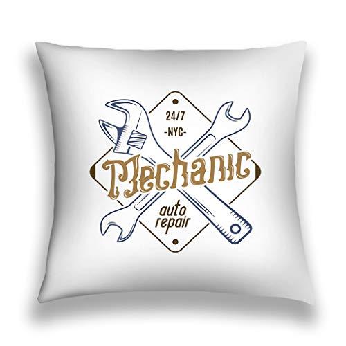 lsudfkj Fundas para Almohada Throw Pillow Cover Pillowcase Mechanic Repair Service Label Repair Service Isolated White Vintage Design Workshop Sofa Home Decorative Cushion Case 18'x18'