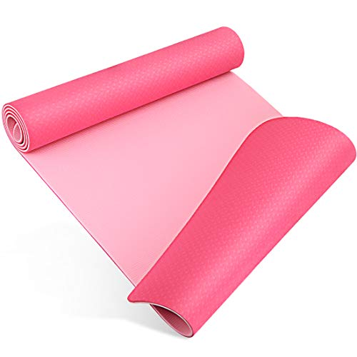Tappetino Yoga, Tappeto Palestra, Tappetino Ginnastica, Double-Sided Antiscivolo Tappetino Pilates, Tappeto Fitness Palestra Casa per Yoga, Pilates, 180 x 60 x 0.6 cm (Rosa Rossa+Rosa Chiaro)