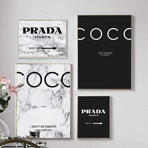 WTMLK Moderne Mode Marmor Coco Zitate Poster und Drucke Schwarz Weiß Vogue Bilder Leinwand Malerei für Wohnzimmer Wohnkultur, PH785PH786PH7106Q237, A4 21x30 cm Kein Rahmen