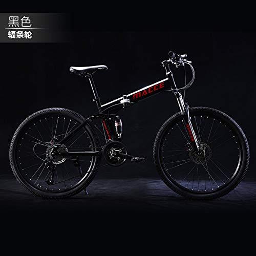 JYFXP 21 velocità Pieghevole Mountain Bike Bicicletta 24 Pollici Studenti Maschi e Femmine Cambio Doppio Ammortizzatore Adulto pendolare Bici Pieghevole Freni a Doppio Disco