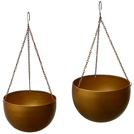 Truphe Export Quality Metal Hanging Pots with Chains for Indoor ( Pack of 2 - Small , Big )