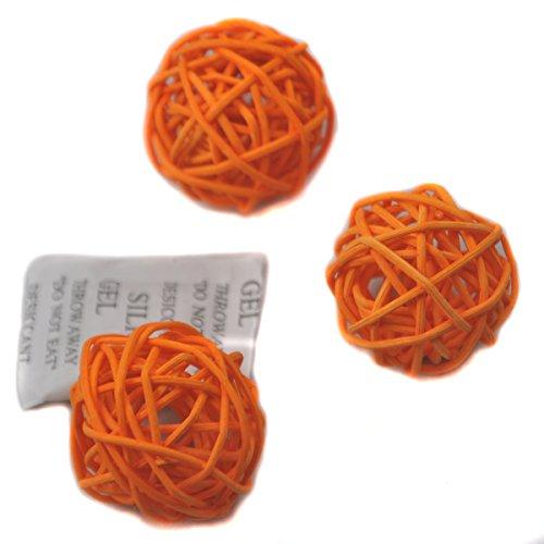 Ougual 10 Piezas Bolas de ratán Mimbre Mesa Boda Fiesta Navidad decoración 5cm Naranja