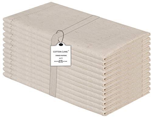 Baumwolle-Klinik 12er-Set Stoffservietten, Hohlsaum Servietten Hochzeit, Baumwolle Leinen Servietten Weich Gemütlich Maschinenwaschbar - 50x50 cm Natürlich