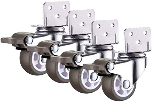 4 PC Caster Placa giratoria Ruedas con Freno, en Forma de L. reemplazo Silencio Ruedas for Cama de bebé, carros de la Carretilla, gabinete de Cocina, Muebles (Color : with Brake, Size : 1.25 Inch)
