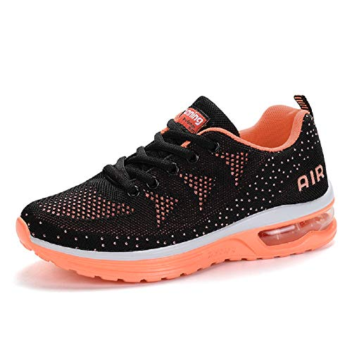Women's Air Cushion Sneakers Athletic Lightweight Comfortable Running Shoes Lace Up Tennis Shoes for Jogging Walking Gym Orange 7.5