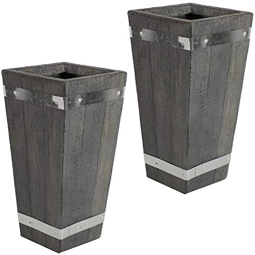 Sunnydaze Courtyard Square Barrel Planter Flower Pot, Indoor/Outdoor 15-Inch Set of 2 with Wood Plank Design