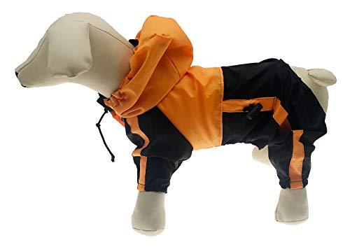 Lovelonglong Dog Hooded Raincoat, Small Dog Rain Jacket Poncho Waterproof Clothes with Hood Breathable 4 Feet Four Legs Rain Coats for Small Medium Large Pet Dogs Orange XL