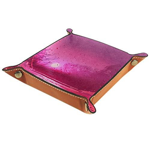 Caja de almacenamiento pequeña, bandeja de valet para hombre,paisaje de fantasía con hojas mágicas rosas ,Organizador de cuero para llaves de caja de monedas