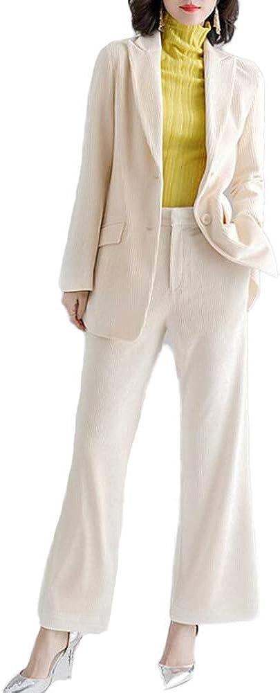 Women's Slim Fit Modern 2 Pieces Corduroy Office Lady Business Suit Set