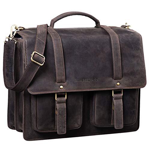 STILORD 'Fernando' Ledertasche Aktentasche Vintage Große Umhängetasche für Lehrer Business Laptoptasche Trolley Aufsteckbar Echtes Leder, Farbe:dunkel - braun