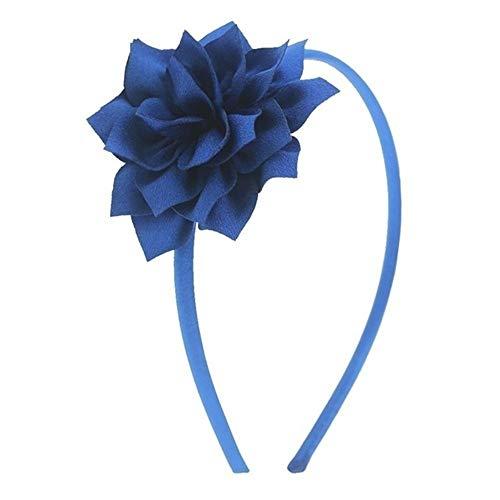 ERLIZHINIAN Les Filles en Mousseline de Soie Floral Bandeaux Bricolage Lotus Couvre-Chef Ruban Satin Couvert Bandeaux Accessoires Cheveux (Color : Royal Blue, Size : China)