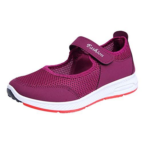 Sandalen Damen Freizeitschuhe Keilabsatz Laufschuhe Leicht Walking Schuhe Plateau Turnschuhe Mesh Fitness Sneaker Laufschuhe Sommer Loafers Atmungsaktiv Espadrilles (Lila, 41)