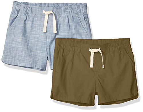 Amazon Essentials - confezione da 2 pantaloncini, per bambine, in tessuto, Olive/Chambray, X-Small