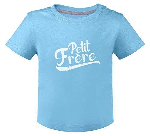 Cadeau pour Petit frère, Naissance T-Shirt Bébé Unisex 6M Bleu Ciel