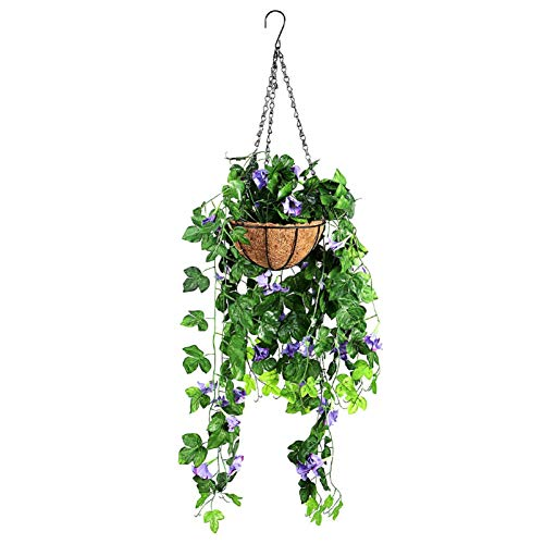 Bluelliant Maceta Colgante con 2 Flores Artificials Jardín Balcon Canastras Decorativas Plantas Artificiales Exterior Interior De Pared Azul