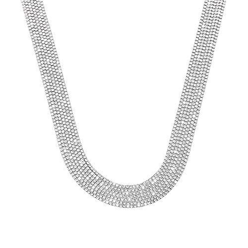 Stroili - Collana multifilo larga in metallo rodiato con strass per Donna