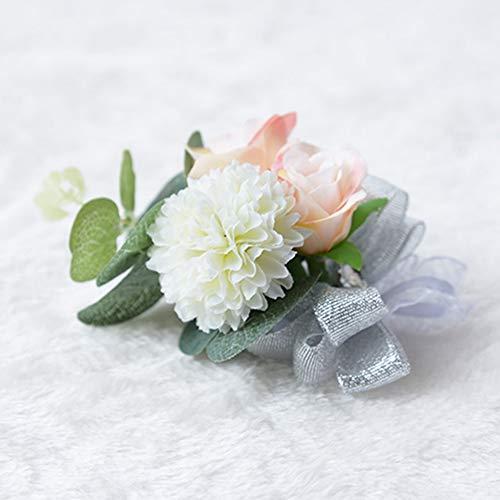 Egurs - Pulsera de estilo ramillete de rosa con lazo plateado y flores artificiales, Ramillete