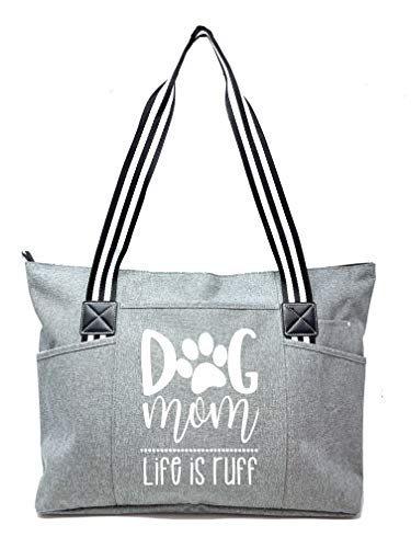 Large, Cute, Fun, Unique Tote Bag for Women - Unique Fun Gifts for Work, Gym, Beach, Christmas, Birthday, Mother's Day (Dog Mom Gray Premium)