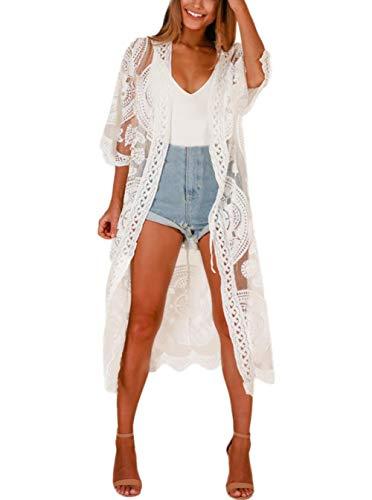 FaroDor Women's Long Flowy Lace Kimono Cardigan Boho Style Summer Beach Open Cover Ups