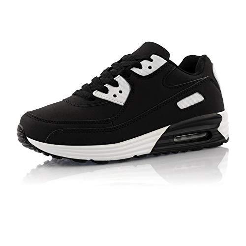 Fusskleidung® Damen Herren Sportschuhe Dämpfung Sneaker leichte Laufschuhe Weiß Schwarz EU 44