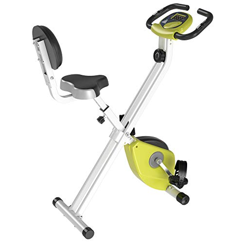 HOMCOM Magnetic Resistance Exercise Bike Foldable X Bike Home Bike Trainer w/LCD Monitor Adjustable Seat Heart Rate Monitors Food Straps Foot Pads Home Office Fitness Training Workout - Yellow