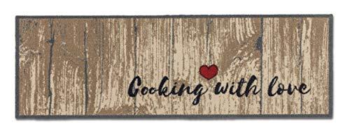 ASTRA Rutschfester Teppich Läufer Miabella — waschbarer Teppich Wohnzimmer — Flur Läufer Modern — (Gr. 50x150cm, Farbe: Cooking with Love)