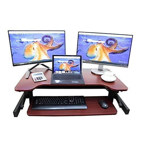 WLGQ Convertidor de Escritorio de pie Ajustable en Altura de 37 Pulgadas, Monitor Dual de sobremesa con Bandeja de Teclado, Rojo, marrón, ergonómico, Oficina en casa