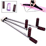 TABODD Leg Stretecher Heavy Duty Flexibility Stretching Machine Martial Arts Stretch Yoga Gym 3 Bar Portable 180 Degree Adjustable (Silver)