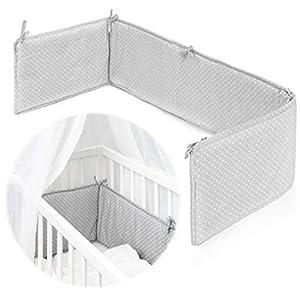 Fillikid Protector Cuna Chichonera Minicuna/Protector cuna colecho bebé con superficie de 90x40 cm/Protección ideal para Vario y Cocon - Lunares Gris Blanco