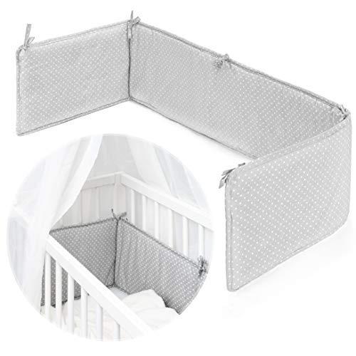 Fillikid Nestchen für Beistellbett, Babybett & Stubenwagen - Weiche Bettumrandung für Baby Betten mit Liegefläche 165x26 cm, ideal für Vario und Cocon - Grau Weiß Punkte
