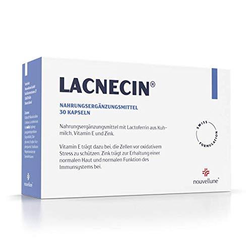 Lacnecin - Kapseln für eine bessere Haut, gegen Akne & Pickel mit Lactoferrin, Vitamin E und Zink bei Hautunreinheiten und für bessere Haut mehr Feuchtigkeit besseres Hautbild