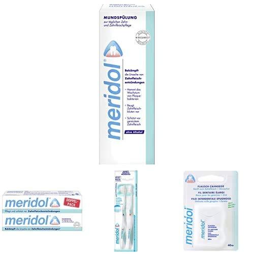meridol Rundum-Set zum Schutz vor Zahnfleischentzündungen mit Mundspülung, Zahnpasta, Zahnbürste & Zahnseide