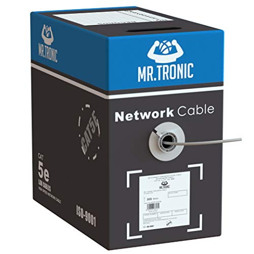 Mr. Tronic 305m Cable de Instalación Red Ethernet Bobina | CAT5E, AWG24, CCA, UTP | Color Gris (305 Metros)