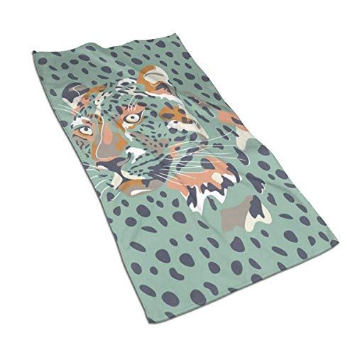 Opiadco África África - Cabeza y Manchas de Leopardo - Toallas de Mano de Fibra extrafina Azul Agua Toalla de Playa Ultra Suave Toalla de baño