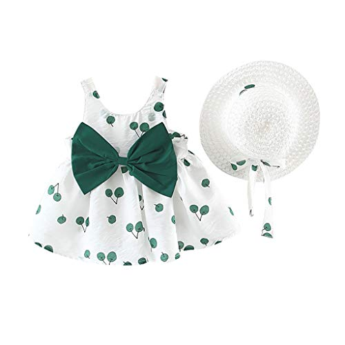Pwtchenty Prinzessin Kleid Baby Kleidung Set Neugeborene Mädchen Sommer Ärmellose Kirsche Overall Dress+Hut Romper Outfits Spielanzug Set