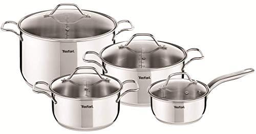 Tefal Intuition - Juego de 4 Ollas cocina: 1 Cazo cocina 16cm, Cacerolas 20/24 cm, 1 Olla 28 cm de acero inoxidable, 4 tapas cristal, marcas medición, todo tipo cocinas, apto horno y lavavajillas