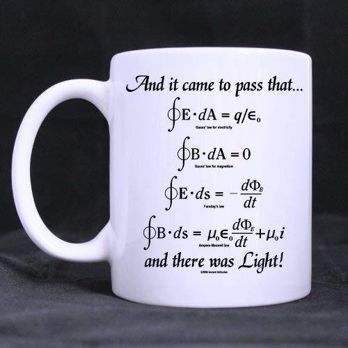 Tasse de formules mathématiques mathématiques de Conception de nouveauté, Dieu a Dit Les équations de Maxwell et il y Avait Une Tasse de Tasses à café en céramique Blanche Claire - qualité supérieure