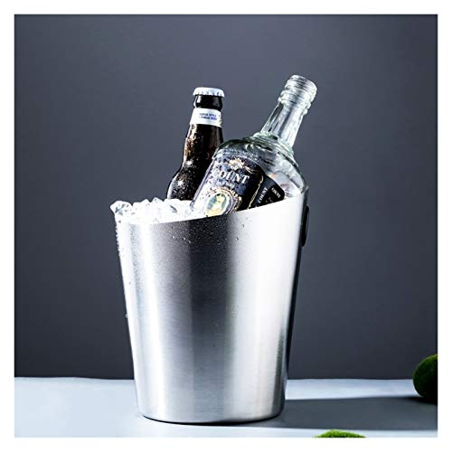 Ice Wine Bucket Cubo De Hielo Dorado Barril De Cerveza De UVA De Acero Inoxidable Cubo De Champán Barril De Vino De Hielo for Bar KTV BBQs Clubes De Fiestas (Color : Silver)