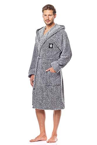 L&L - Bruce Kurz Schlafrock für Männer. Extrem Flauschig und weicher Bademantel. Schlafrock mit Kapuze für Männer (Melange, Medium)