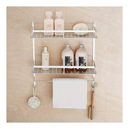 Fantastic Deal! HUIZWJ Corner Shelf Rotating Bathroom Shelves with Towel Bar and Hooks, Stainless St...