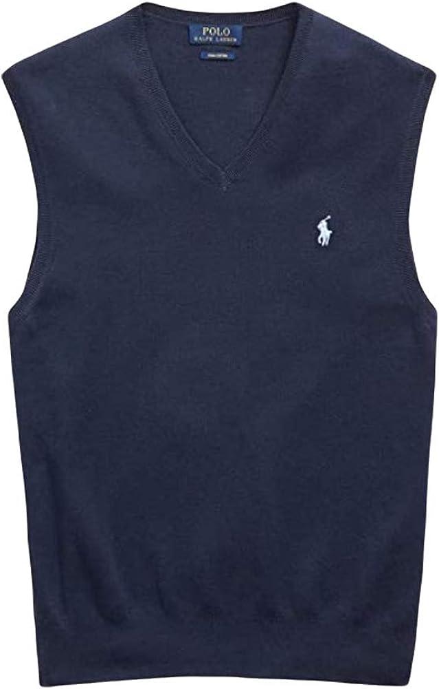 Ralph Lauren Polo Mens Pima Cotton Sweater Vest (Small, Blue)