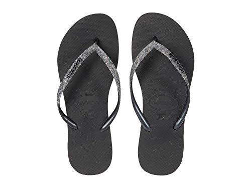 Havaianas Slim Glitter Flip-Flop Black/Dark Metallic Grey 39/40 Brazil (US Men's 7/8, Women's 9/10) M