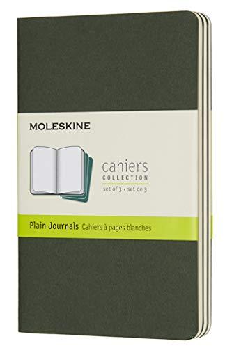 Moleskine Cahier Journal, Set 3 Quaderni con Pagina Bianca, Copertina in Cartoncino e Cucitura a Vista, Colore Verde Mirto, Dimensione Pocket 9 x 14 cm, 64 Pagine